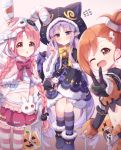 1girl 3girls akane_mimi alternate_costume bandages blush braid commentary hair_ornament hair_ribbon hairclip hat highres hikawa_kyoka hodaka_misogi long_hair looking_at_viewer multiple_girls one_eye_closed open_mouth orange_hair pink_hair pointy_ears princess_connect! princess_connect!_re:dive purple_hair ribbon short_hair side_ponytail simple_background sweat sweating_profusely thigh-highs tokenbox twin_braids v white_background