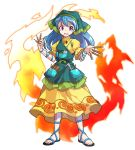 1girl :d alphes_(style) apron arm_ribbon between_fingers blue_hair blue_ribbon chisel commentary_request dairi dress eyebrows_visible_through_hair fire flower full_body green_apron haniyasushin_keiki head_scarf highres jewelry long_hair looking_at_viewer magatama magatama_necklace necklace open_mouth parody pocket puffy_short_sleeves puffy_sleeves revision ribbon sandals short_sleeves smile solo standing style_parody tachi-e tools touhou transparent_background violet_eyes wily_beast_and_weakest_creature yellow_dress