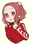 1girl :o alternate_hairstyle brown_hair cropped_torso do_m_kaeru flat_color jacket long_sleeves okumura_haru open_mouth persona persona_5 ponytail red_jacket short_hair simple_background sketch solo track_jacket twitter_username violet_eyes yellow_background