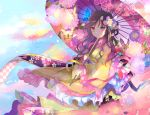 1girl brown_hair bug butterfly commentary_request floral_print flower frilled_sleeves frills hair_flower hair_ornament holding holding_umbrella insect japanese_clothes kazu_(muchuukai) kimono long_hair long_sleeves oriental_umbrella original petals pink_eyes sash sky tassel umbrella wide_sleeves yellow_kimono
