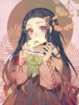 1girl alternate_costume black_hair bow commentary green_bow green_nails hair_bow hair_ornament hair_ribbon heart heart_hair_ornament holding_letter japanese_clothes kamado_nezuko kimetsu_no_yaiba letter long_hair long_sleeves looking_at_viewer red_bow ribbon songjikyo