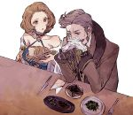 1boy 1girl bare_shoulders basket bread brown_eyes brown_hair elbows_on_table facial_hair fire_emblem fire_emblem:_three_houses food fork grey_hair hanneman_von_essar indoors interlocked_fingers knife long_sleeves looking_at_another manuela_casagranda monocle mustache napkin plate short_hair shourou_kanna toast white_background