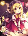 1girl bangs blonde_hair blurry blush bow bowtie commentary_request crystal cute eyebrows_visible_through_hair flandre_scarlet hair_between_eyes hat hat_bow highres indoors lamp long_hair mary_janes miniskirt mob_cap moe one_side_up open_mouth petticoat red_bow red_eyes red_footwear red_skirt red_vest ruhika shadow shoes sitting skirt socks solo team_shanghai_alice touhou v_arms vampire vest wariza white_headwear white_legwear wings wrist_cuffs yellow_bow yellow_neckwear