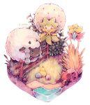 berry caomor commentary eldegoss faux_figurine fence food fruit gen_8_pokemon gossifleur no_humans pokemon pokemon_(creature) rock sheep traditional_media twitter_username water watercolor_(medium) white_background wooden_fence wooloo