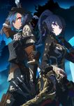 2girls arm_at_side arm_up armor au_ra black_hair blue_hair chainmail closed_mouth commission cowboy_shot dark.h dark_knight_(final_fantasy) dated dragon_girl dragon_horns dual_wielding elbow_gloves final_fantasy final_fantasy_xiv gloves greatsword hand_up high_ponytail holding holding_sword holding_weapon horns jacket knife light_smile lips long_hair long_sleeves looking_at_viewer medium_hair multicolored_hair multiple_girls ninja_(final_fantasy) pants parted_lips ponytail red_eyes scales signature sword two-tone_hair violet_eyes weapon