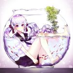 1girl absurdres animal aqua_hair aquarium artist_name bangs barefoot blush bottle bottle_miku closed_mouth fish goldfish hair_between_eyes hair_ribbon hatsune_miku highres legs liquid_hair long_hair looking_at_viewer plant plus_heart purple_hair ribbon school_uniform serafuku simple_background sitting skirt solo twintails very_long_hair violet_eyes vocaloid water white_background