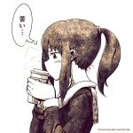 1girl bangs blush breath coffee_cup copyright copyright_name cup disposable_cup drinking eyebrows_visible_through_hair from_side hair_tie highres holding holding_cup long_sleeves medium_hair monochrome original ponytail school_uniform shokubai_phantom_girl sidelocks simple_background thought_bubble white_background winter_uniform