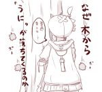1girl atelier_(series) atelier_ryza back beret chestnut commentary_request engiyoshi greyscale hat holding holding_staff hood hood_down hoodie monochrome reisalin_stout solo staff translated tree urchin