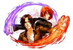 2boys bangs brown_eyes brown_hair fingerless_gloves fire gloves hair_over_one_eye highres jacket jewelry kusanagi_kyou leather leather_jacket male_focus multiple_boys parted_bangs purple_fire pyrokinesis redhead ring smile spade-m the_king_of_fighters yagami_iori