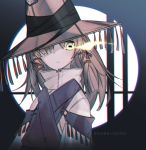 1girl adapted_costume artist_name burning_eye chromatic_aberration frog_eyes glowing glowing_eyes hair_over_one_eye hat hat_over_one_eye kky long_hair looking_at_viewer moriya_suwako touhou upper_body yellow_eyes