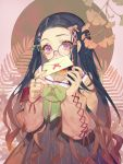 1girl alternate_costume black_hair bow commentary glasses green_bow green_nails hair_bow hair_ornament hair_ribbon heart heart_hair_ornament holding_letter japanese_clothes kamado_nezuko kimetsu_no_yaiba letter long_hair long_sleeves looking_at_viewer red_bow ribbon songjikyo