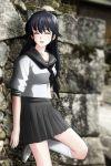 1girl ayukawa_madoka black_hair genya_(genya67) highres kimagure_orange_road knee_up kneehighs long_hair oldschool outdoors school_uniform skirt smile solo white_legwear