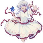 1girl :d arm_up bangs earlobes ebisu_eika eyebrows_visible_through_hair frilled_shirt frilled_skirt frilled_sleeves frills full_body grey_hair highres holding jumping long_hair open_mouth pinwheel puffy_short_sleeves puffy_sleeves red_eyes red_ribbon ribbon shirt short_sleeves simple_background skirt skirt_set smile solo touhou uranaishi_(miraura) white_background