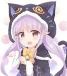 1girl animal_ears animal_hood araki495 bangs bell black_capelet black_jacket blush bow brown_eyes capelet cat_ears cat_girl cat_hood cat_tail commentary_request eyebrows_visible_through_hair fake_animal_ears fang fur-trimmed_capelet fur-trimmed_hood fur_trim highres hikawa_kyoka hood hooded_capelet jacket jingle_bell long_hair long_sleeves looking_at_viewer low_twintails open_mouth paw_pose princess_connect! princess_connect!_re:dive purple_bow purple_hair solo tail tail_bow tail_raised twintails upper_body very_long_hair wide_sleeves yellow_bow