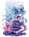 1girl artist_name bare_arms barefoot black_dress black_ribbon blue_hair caomor closed_mouth commentary coral dress floating_hair full_body hair_ribbon hands_together hatsune_miku layered_dress long_hair own_hands_together ribbon shinkai_shoujo_(vocaloid) sitting solo twintails underwater very_long_hair vocaloid