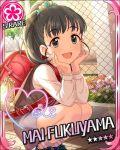 black_eyes black_hair blush character_name fukuyama_mai idolmaster idolmaster_cinderella_girls long_hair shirt smile