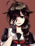 1girl ambiguous_red_liquid crying crying_with_eyes_open forced_smile hand_on_own_face kantai_collection kurou_(bcrow) looking_at_viewer shigure_(kantai_collection) solo tears