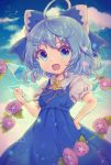 1girl ahoge artist_name blue_bow blue_dress blue_eyes blue_hair bow cirno clenched_hand clouds commentary_request dress flower hair_bow hand_on_hip highres ice ice_wings open_mouth plant red_ribbon ribbon shirt short_hair short_sleeves sky smile solo sunflower suzukkyu touhou vines white_shirt wings