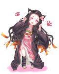 1girl animal_ears black_hair brown_hair cat_ears commentary forehead hair_ribbon highres japanese_clothes kamado_nezuko kimetsu_no_yaiba kimono long_hair long_sleeves looking_at_viewer multicolored_hair n15e pink_eyes pink_kimono pink_ribbon ribbon simple_background solo two-tone_hair very_long_hair white_background younger