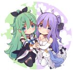 2girls ahoge azur_lane bangs black_bow black_legwear black_ribbon blue_eyes blue_neckwear blush bow commentary_request criss-cross_halter crossover detached_sleeves dress eyebrows_visible_through_hair green_hair hair_between_eyes hair_bow hair_bun hair_flaps hair_ornament hairclip halterneck holding_hands kantai_collection long_hair multiple_girls neckerchief pout purple_hair ribbon sailor_collar school_uniform serafuku side_bun smile stuffed_alicorn stuffed_animal stuffed_toy stuffed_unicorn suzuki_toto thigh-highs unicorn_(azur_lane) violet_eyes white_dress white_legwear yamakaze_(kantai_collection)