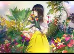 1girl against_wall bangs bare_arms bare_shoulders black_hair blunt_bangs blurry blurry_foreground blush breasts camellia closed_mouth commentary english_commentary eyebrows_visible_through_hair fingernails flower flower_request frilled_shirt frills green_eyes grey_background happy holding holding_flower kusaka_kou leaf letterboxed light_rays long_hair long_skirt looking_away medium_breasts off_shoulder orange_flower original plant purple_flower red_flower shadow shiny shiny_hair shirt simple_background skirt smile solo standing sunbeam sunlight tree_branch tulip upper_body wall white_shirt yellow_flower yellow_skirt