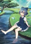 1girl absurdres arm_support barefoot blue_dress blue_eyes blue_hair bow cirno crystal dress fairy_wings hair_between_eyes hair_bow highres ice ice_wings looking_at_viewer mamemochi open_mouth outdoors river short_hair short_sleeves sitting soaking_feet solo touhou tree upper_teeth wings