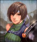 1girl armor bare_shoulders breasts brown_eyes brown_hair closed_mouth commentary final_fantasy final_fantasy_vii headband looking_at_viewer rejean_dubois short_hair shoulder_armor sleeveless sleeveless_turtleneck smile solo turtleneck yuffie_kisaragi