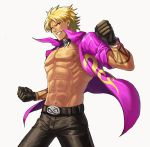 1boy abs belt belt_buckle black_belt black_gloves black_pants blonde_hair buckle clenched_teeth collar collared_shirt cowboy_shot dark_skin dark_skinned_male gloves jacket looking_at_viewer male_focus muscle muse_(rainforest) navel nipples open_clothes pants pectorals purple_shirt ribs shen_woo shirt sleeves_rolled_up solo tattoo teeth the_king_of_fighters