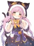 1girl animal_ears animal_hood bangs bell black_capelet black_jacket black_skirt blush bow brown_bow brown_eyes capelet cat_ears cat_girl cat_hood cat_tail commentary_request eyebrows_visible_through_hair fur-trimmed_capelet fur-trimmed_hood fur-trimmed_sleeves fur_trim hands_up head_tilt hikawa_kyoka hood hood_up hooded_capelet jack-o'-lantern jacket jingle_bell long_hair long_sleeves looking_at_viewer low_twintails open_mouth paw_pose pointy_ears princess_connect! princess_connect!_re:dive purple_bow purple_hair shiratama_(shiratamaco) signature simple_background skirt solo tail tail_bow twintails very_long_hair white_background wide_sleeves