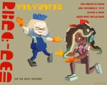 2girls album_cover alpha_gamboa black_hair blonde_hair blue_shirt bow commentary cosplay cover crown dark_skin dire_straits gloves gradient_hair harv_(dire_straits) harv_(dire_straits)_(cosplay) hime_(splatoon) iida_(splatoon) inkling_(language) long_hair looking_at_viewer medium_hair mole mole_under_mouth money_for_nothing multicolored_hair multiple_girls octarian one_knee overalls parody sal_(dire_straits) sal_(dire_straits)_(cosplay) shirt smile splatoon_(series) splatoon_2 striped striped_shirt tentacle_hair