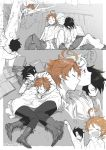 ... 1girl 2boys arm_support arm_up barefoot black_hair blue_hair book_pillow book_stack boots brown_hair clenched_hand closed_eyes covering_mouth drooling emma_(yakusoku_no_neverland) hair_ornament hairclip hand_over_own_mouth head_on_another's_shoulder in_tree indesign leaning_on_person leaning_to_the_side long_sleeves looking_at_another looking_up lying miniskirt multiple_boys norman_(yakusoku_no_neverland) on_side on_stomach open_mouth outside_border profile ray_(yakusoku_no_neverland) shared_blanket shirt shoe_soles shoes side-by-side sitting sketch skirt sleeping sleeping_on_person sleeping_upright spoken_ellipsis spoken_zzz spot_color stretch tears thought_bubble tree x_hair_ornament yakusoku_no_neverland yawning