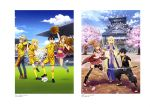 absurdres alice_schuberg artist_request asuna_(sao) ball eugeo highres holding holding_sword holding_weapon katana kirito long_hair soccer soccer_ball soccer_field soccer_uniform sportswear sword sword_art_online sword_art_online_alicization weapon