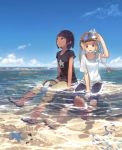 2girls blonde_hair blue_sky brown_eyes brown_hair clouds commentary_request contemporary dark_skin day goggles goggles_on_head highres light_smile medium_hair minamito multiple_girls ocean open_mouth original outdoors partially_submerged sandals shirt shoes short_hair shorts side_ponytail sitting sky sneakers snorkel starfish summer t-shirt tomboy water wet wet_clothes wet_shirt