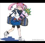 1girl ^_^ badge bike_shorts bouquet closed_eyes dated facing_viewer flower hair_bobbles hair_ornament holding holding_bouquet kantai_collection pink_hair sazanami_(kantai_collection) school_uniform serafuku shikishima_fugen short_hair shorts shorts_under_skirt simple_background solo twintails twitter_username v white_background white_footwear