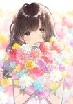 1girl :d aqua_flower bangs bare_arms blunt_bangs blush bouquet brown_eyes brown_hair colorful daisy earrings eyebrows_visible_through_hair floating_hair flower flower_earrings gradient gradient_background happy highres holding holding_bouquet holding_flower jewelry leaf light_particles looking_at_viewer multicolored multicolored_background necojishi open_mouth original pink_flower pink_rose purple_flower purple_rose red_flower red_rose rose shirt short_hair simple_background smile solo tulip upper_body white_flower white_shirt yellow_flower yellow_rose