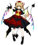 1girl :d absurdres alternate_costume arm_up ascot bangs black_choker black_footwear black_gloves blonde_hair blush boots choker crystal daimaou_ruaeru dress eyebrows_visible_through_hair flandre_scarlet full_body gloves hair_ribbon hat highres holding laevatein looking_at_viewer mob_cap one_side_up open_mouth petticoat red_dress red_eyes red_headwear red_ribbon ribbon short_hair short_sleeves simple_background smile solo standing touhou white_background wings yellow_neckwear