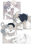 1girl 4boys afterimage blush cheek_kiss child child_carry dark_skin dark_skinned_male emma_(yakusoku_no_neverland) forehead_kiss hand_in_hair hand_on_another's_head hands_on_another's_shoulders hetero indesign kiss long_sleeves multiple_boys neck_tattoo norman_(yakusoku_no_neverland) one_eye_closed outside_border phil_(yakusoku_no_neverland) profile ray_(yakusoku_no_neverland) rejection short_hair sketch smile sweat sweating_profusely tattoo yakusoku_no_neverland