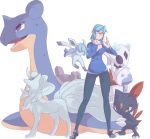 1girl alolan_ninetales autobottesla blue_eyes blue_shirt breasts clenched_hand closed_eyes commission english_commentary froslass gen_1_pokemon gen_2_pokemon gen_4_pokemon glaceon glasses grey_eyes lapras medium_breasts medium_hair pants pokemon pokemon_(creature) red_eyes scarf shirt shoes simple_background sneasel solo standing transparent_background