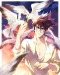 1boy bird bread brown_hair chest eating feeding food glasses macross macross_7 male_focus mayuki_(ubiquitous) nekki_basara open_clothes open_shirt shirt solo upper_body white_shirt yellow_eyes