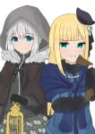2girls add_(lord_el-melloi_ii) aqua_eyes atsumisu bangs beret birdcage black_gloves black_headwear black_ribbon blonde_hair blue_dress blue_eyes brown_cape brown_gloves cage cape closed_mouth commentary_request dress eyebrows_visible_through_hair fate_(series) flower fur-trimmed_cape fur-trimmed_sleeves fur_trim gloves gray_(lord_el-melloi_ii) grey_flower grey_hair grey_shirt grey_skirt grin hair_between_eyes hair_flower hair_ornament hat holding hood hood_up long_hair lord_el-melloi_ii_case_files mini_hat multiple_girls plaid plaid_skirt pleated_skirt reines_el-melloi_archisorte ribbon shirt simple_background skirt smile tilted_headwear v-shaped_eyebrows white_background