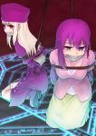 2girls arms_behind_back boots bound bound_arms fate/stay_night fate_(series) gag gagged gloves hair_ribbon hat highres illyasviel_von_einzbern improvised_gag kuro_ari_(pixiv) long_hair magic_circle matou_sakura multiple_girls purple_hair red_eyes restrained ribbon rope sitting skirt tape tape_gag violet_eyes wariza