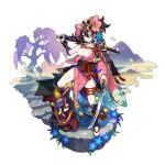 >:) 1girl armor brown_hair crack dagger dragalia_lost footwear_request full_body helmet holding holding_sword holding_weapon japanese_armor japanese_clothes kabuto katana kimono looking_at_viewer mountain non-web_source official_art ripples saitou_naoki smile sword thigh_strap torii transparent_background tree violet_eyes water weapon