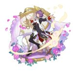 1boy asymmetrical_legwear boots chair clothing_request dancing dragalia_lost flower full_body hair_ornament hair_over_one_eye looking_at_viewer non-web_source official_art parted_lips petals purple_hair saitou_naoki short_hair smile smug thigh-highs thigh_boots transparent_background yellow_eyes zardin_(dragalia_lost)