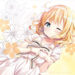 1girl ;( absurdres bangs beige_background blonde_hair blue_eyes blush bow closed_mouth collarbone commentary_request dress dutch_angle eyebrows_visible_through_hair fingernails floral_background gochuumon_wa_usagi_desu_ka? gradient gradient_background heart heart_hands highres kirima_sharo light_frown looking_at_viewer neki_(wakiko) puffy_short_sleeves puffy_sleeves short_sleeves solo striped striped_bow twitter_username white_background white_bow white_dress