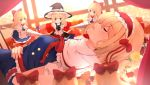 1girl alice_margatroid apron between_legs black_vest blonde_hair blue_dress blue_eyes blurry bow braid capelet character_doll chibi closed_eyes commentary curtains day depth_of_field disney dress fairy_tales flower hair_bow hair_ribbon hairband hand_between_legs hand_on_own_stomach hat holding_lance holding_polearm hunya indoors kirisame_marisa lance lolita_hairband long_hair looking_at_viewer lying on_back open_mouth orange_flower orange_rose parody polearm puffy_short_sleeves puffy_sleeves red_flower red_neckwear red_ribbon red_rose ribbon rose sash shanghai_doll shirt short_hair short_sleeves single_braid sleeping sleeping_beauty solo team_shanghai_alice touhou tress_ribbon vest waist_apron weapon white_capelet white_shirt window witch_hat yellow_eyes yellow_flower yellow_rose