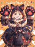 1girl :3 :d animal_ears arms_up bangs black_capelet black_dress black_gloves blonde_hair brown_eyes capelet cat_ears cat_girl cat_tail commentary_request djeeta_(granblue_fantasy) dress eyebrows_visible_through_hair fangs fur-trimmed_gloves fur_trim ghost gloves granblue_fantasy hair_between_eyes highres hood hood_up hooded_capelet long_sleeves milli_little open_mouth orange_background paw_gloves paws smile solo tail trick_or_treat twitter_username v-shaped_eyebrows