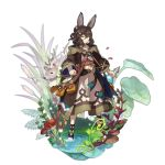 1boy animal_ears bag clothing_request deer dragalia_lost full_body leaf looking_at_viewer mushroom non-web_source official_art plant potion rabbit_ears ripples saitou_naoki serious solo sylas_(dragalia_lost) water