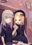 2girls abigail_williams_(fate/grand_order) bangs black_bow black_dress blonde_hair blue_eyes bow bruise_on_face closed_mouth commentary_request dress eyebrows_visible_through_hair fate/grand_order fate_(series) hair_bow hank10111213 hat horn kneeling lavinia_whateley_(fate/grand_order) long_hair long_sleeves multiple_girls one_eye_closed open_mouth orange_bow parted_bangs polka_dot polka_dot_bow sitting smile