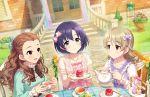 blush dress idolmaster_cinderella_girls_starlight_stage morikubo_nono purple_hair red_eyes seki_hiromi shiragiku_hotaru short_hair smile