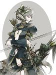 1girl arrow au_ra bard_(final_fantasy) belt bike_shorts bow_(weapon) breasts breasts_apart butterfly_hair_ornament center_opening closed_mouth cowboy_shot dragon_horns dragon_tail drawing_bow facing_viewer final_fantasy final_fantasy_xiv green_eyes grey_hair hair_ornament highres holding holding_bow_(weapon) holding_weapon horns hug_ff14 looking_to_the_side medium_breasts navel pale_skin scales short_hair shoulder_armor simple_background solo tail two-tone_background weapon